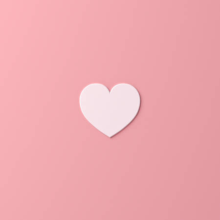 Abstract white heart shape isolate on pink pastel color background with shadow 3D rendering 版權商用圖片