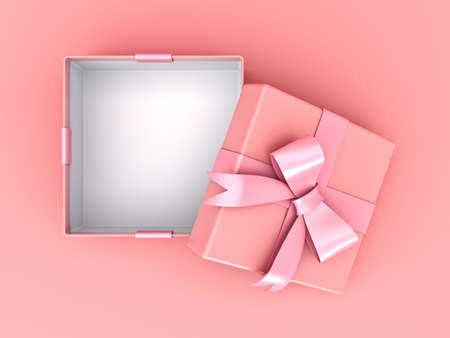 Top view of blank open gift box or pink pastel color present box with pink ribbon and bow isolated on pink pastel color background with shadow 3D rendering 스톡 콘텐츠