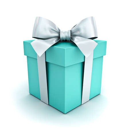 Blue green pastel color Gift box or present box with white ribbon and bow isolated on white background with shadow 3D rendering