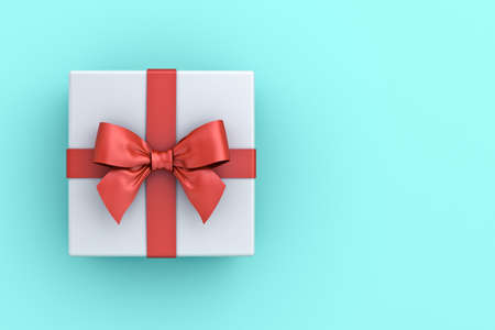 Gift box or present box with red ribbon and bow isolated on green blue pastel color background with blank space 3D rendering 版權商用圖片