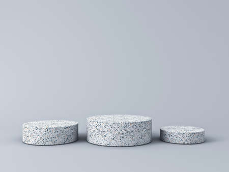 Blank marble product podium pedestals isolated on grey background with shadow 3D rendering