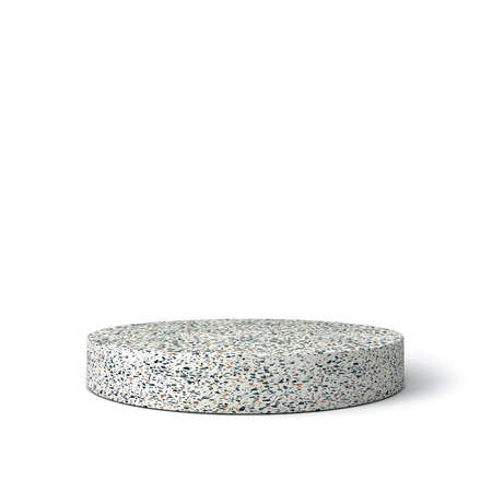 Blank marble product pedestal isolated on white background with shadow 3D rendering