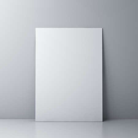 Blank white board or white sheet of paper template isolated against the wall with shadow and reflection 3D rendering