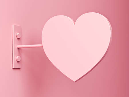 Pink pastel color heart shape signage mock up or blank heart signboard on the pink wall with shadow 3D rendering 版權商用圖片