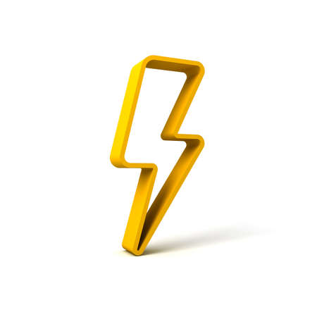 3d yellow thunder or lightning isolated over white background with shadow 3D rendering