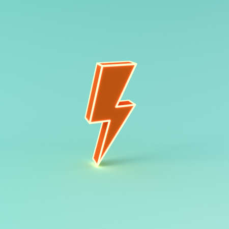 3d neon light thunder or orange lightning isolated on green blue pastel color background with shadow 3D rendering 版權商用圖片