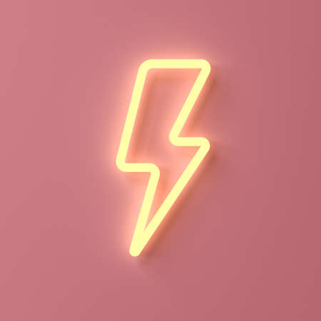 Yellow neon thunder or lightning isolated on pink pastel color wall background with shadow 3D rendering
