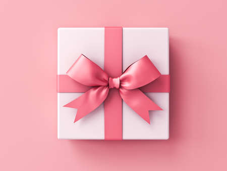 Sweet white present box or gift box with pink ribbons and bow isolated on pink pastel color background with shadow 3D rendering 版權商用圖片