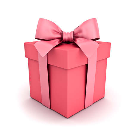 Gift box or pink pastel color present box with pink ribbon and bow isolated on white background with shadow 3D rendering
