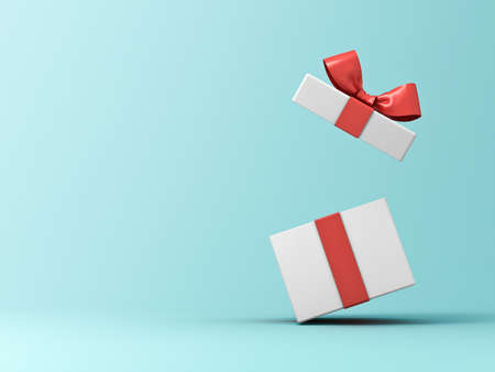 Front view of open present box or gift box with red ribbons and bow isolated on green blue pastel color background with shadow 3D rendering