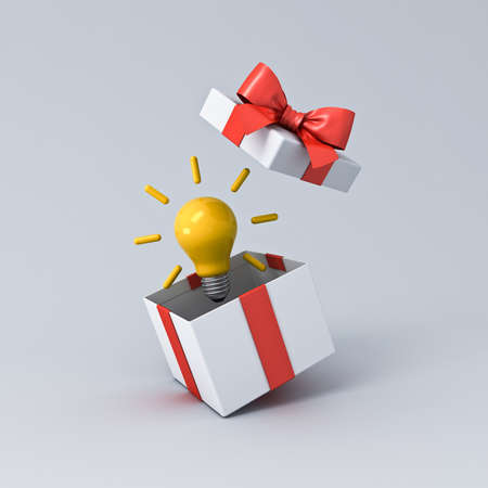 Idea gift or present box concepts with red ribbon and bow isolated on white grey background with shadow 3D rendering