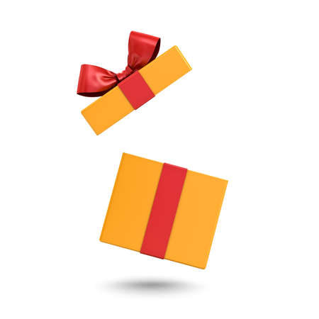 Open yellow color present box or gift box with red ribbons and bow isolated on white background with shadow 3D rendering