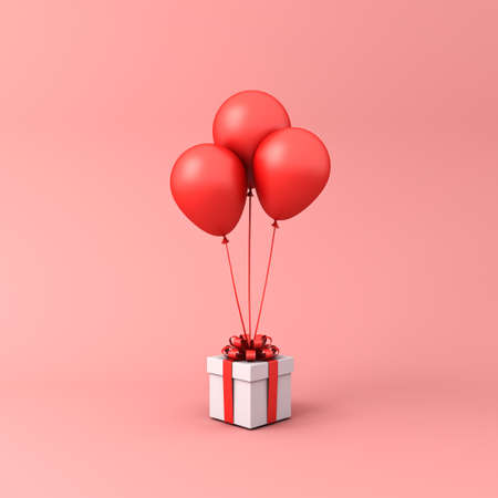 White present box or gift box with red balloons isolated on light red orange pastel color background with shadow 3D rendering 版權商用圖片