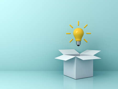 Think outside the box concept bright yellow idea bulb floating outside the white cardboard box isolated on light green blue pastel color background with shadow 3D rendering