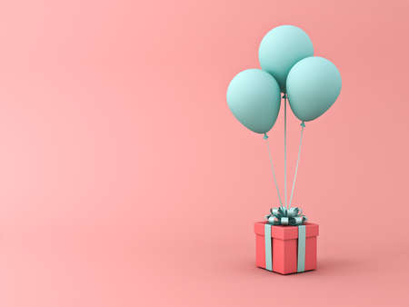Red gift box or present box with light green blue pastel color ribbon bow and balloons isolated on light red orange pastel color background with shadow 3D rendering
