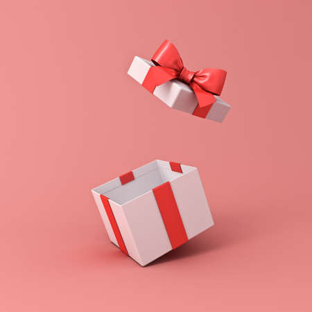 Blank open white gift box or present box with red ribbon bow isolated on light red pink orange pastel color background with shadow 3D rendering 版權商用圖片