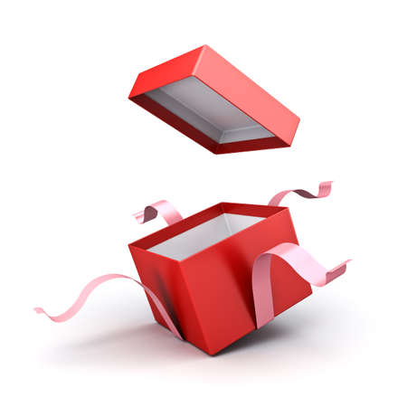 Open red gift box or present box with sweet pink ribbons isolated on white background with shadow 3D rendering