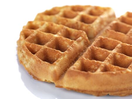 a freshly baked waffle ready for serving in a white background Reklamní fotografie
