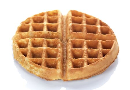 waffles: a round waffle on a white background