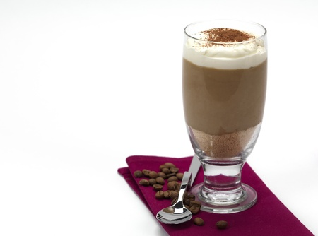 a coffee flavored mousse covered with whipping cream