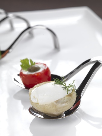 two different appetizers served in a modern style photo