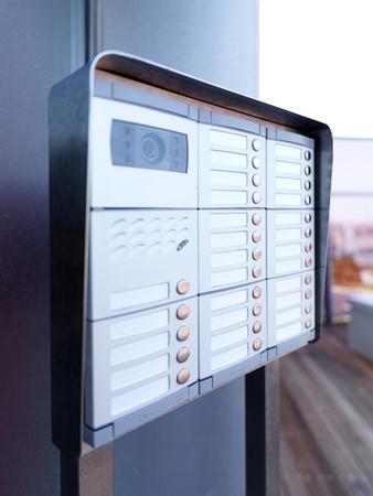 a close up of a doorphone Standard-Bild