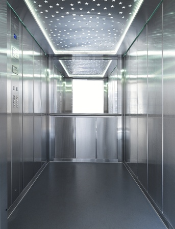 the inside of an elevator Stock Photo