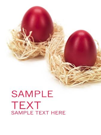 Rote Eier in die Nester zu Ostern  Standard-Bild - 9212517