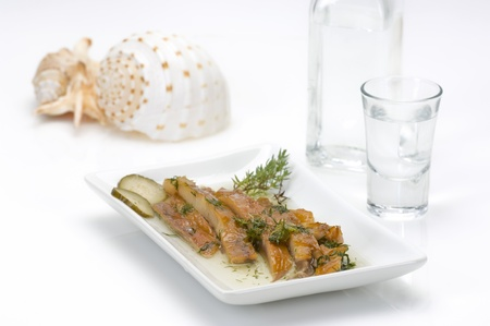 sundried fish fillet served with ouzo