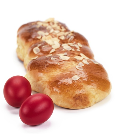 a traditional sweet brioche bread,called tsoureki(greek recipe) photo