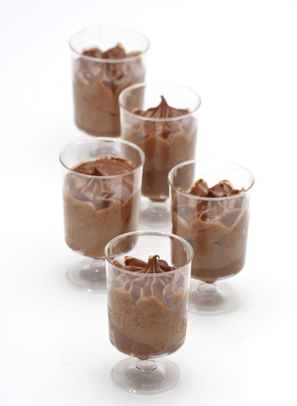 lose up: lose up of chocolate desserts mousse  in a small glass