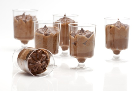 close up of chocolate desserts mousse  in a small glass