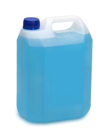 antifreeze: gallon full of blue detergent on white
