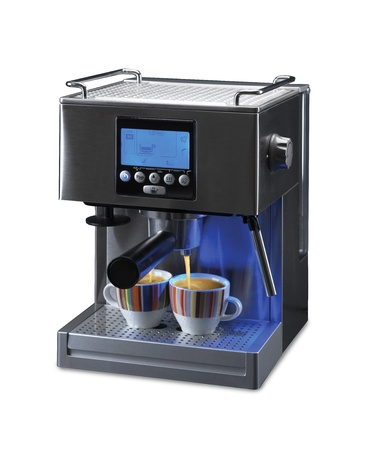 professional espresso machine for two cups of coffee with a path on a white background photo