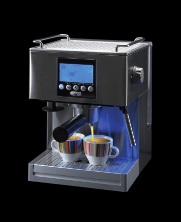 capuccino: professional espresso machine for two cups of coffee with a path on a black background