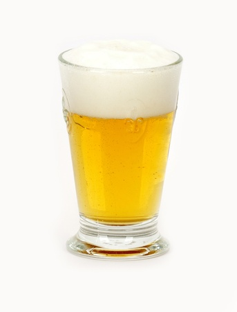 a glass of beer on a white background photo