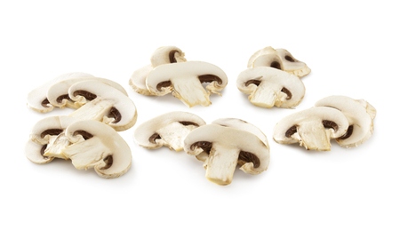 slices of white mushrooms isolated on a white backgrounda clipping path included
