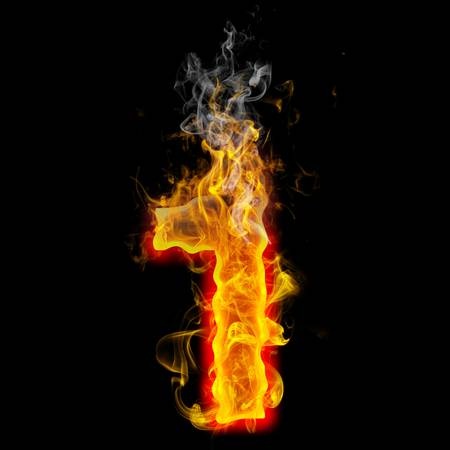 hot: the number 1 made from blazing fire  Stock Photo