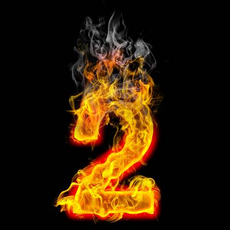 burning: the number 2 made from blazing fire  Stock Photo