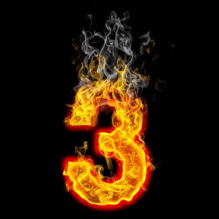 타오르는 불로 만든 숫자 3