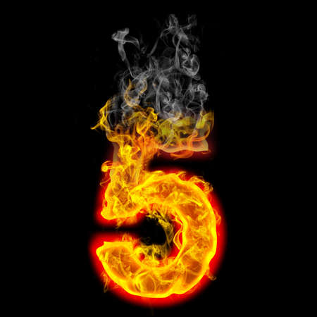 burning: the number 5 made from blazing fire  Stock Photo