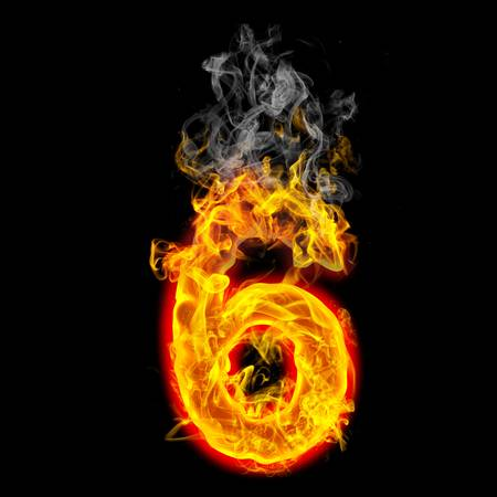 the number 6 made from blazing fire  Stok Fotoğraf