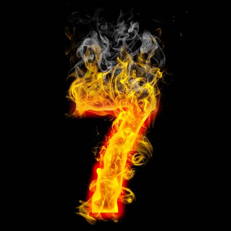 the number 7 made from blazing fire  Zdjęcie Seryjne