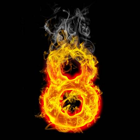 flame: the number 8 made from blazing fire