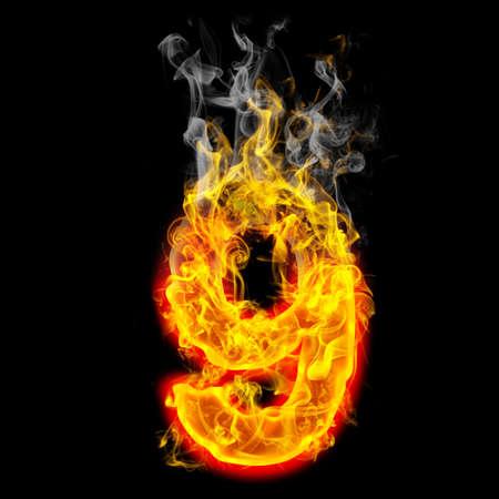 燃える火から作られた数 9 写真素材