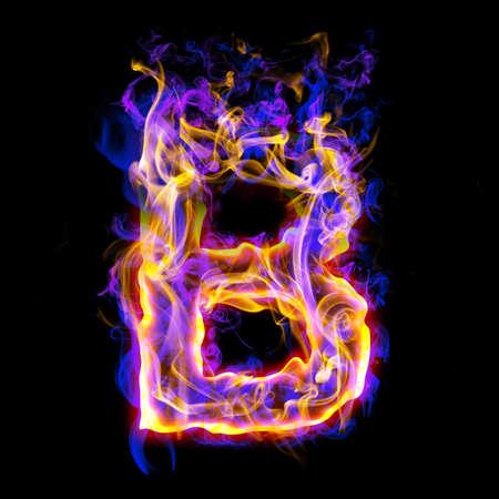 quemadura: Fuente ardiente con Rosa y azul. Letra B
