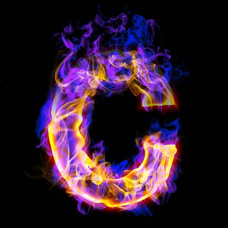 letter c: Fiery font with rose and blue. Letter C