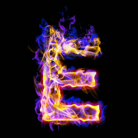 letter: Fiery font with rose and blue. Letter E