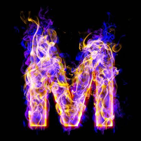 alfabet m branden met blauwe en roze kleuren Stockfoto