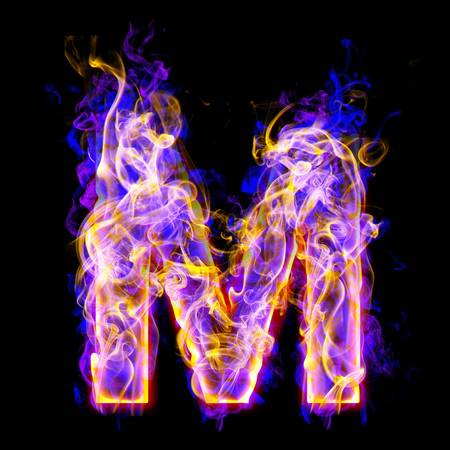 letter m burning with blue and pink colors Reklamní fotografie